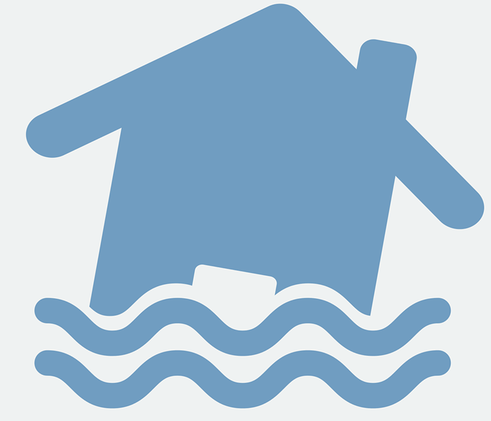 blue icon of a house with lines under it that look like water,