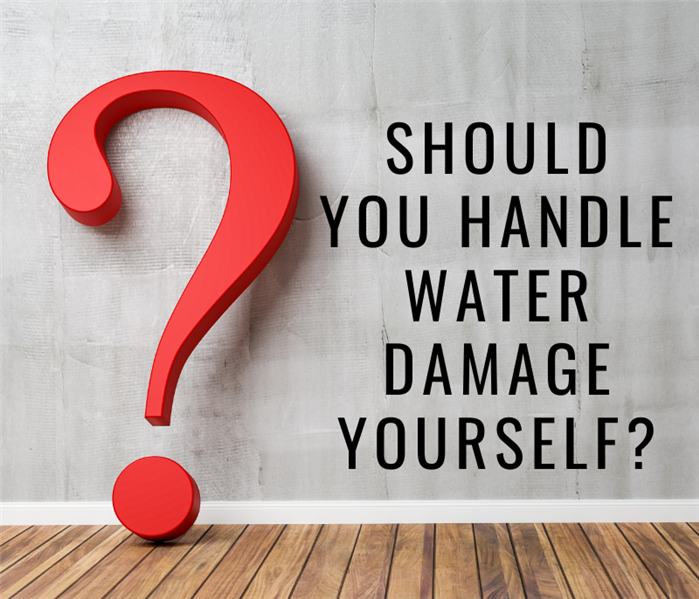 large question mark with text: should you handle water damage yourself?