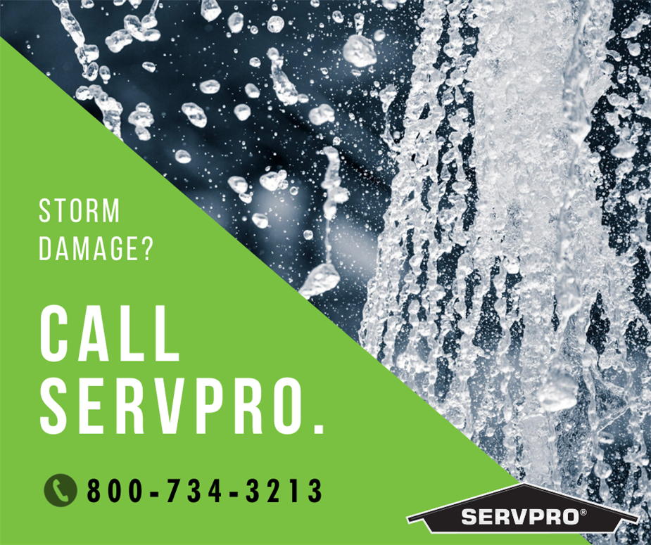 Water flowing down with text: storm damage? call servpro