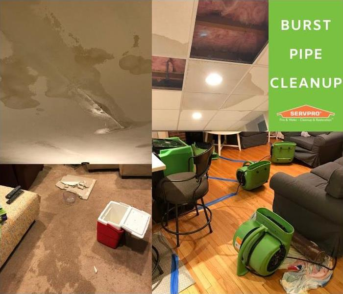 2 burst pipes in an attic caused water damage to ceilings, hardwood floors, carpets all the way to the basement