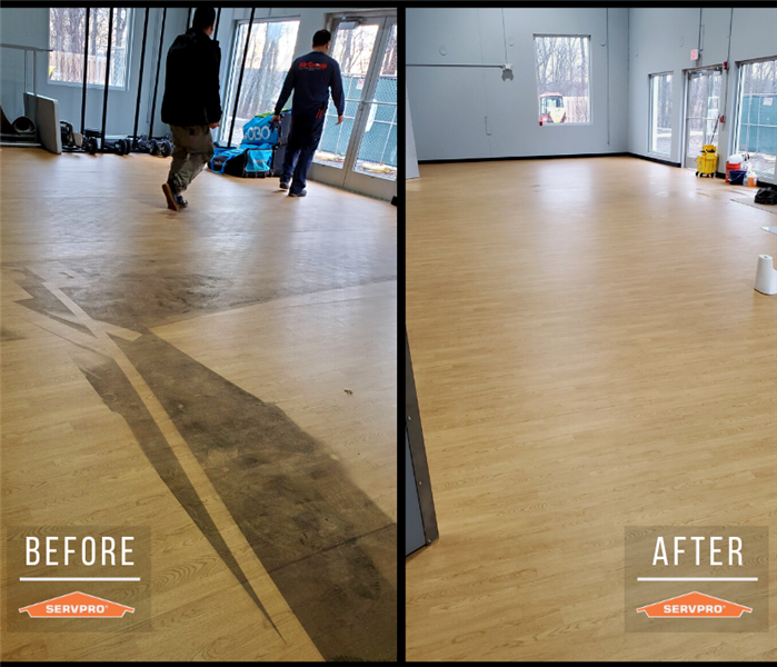 commercial floor cleaning. before: dirt and film of spray covering floor. after: completely clean floor